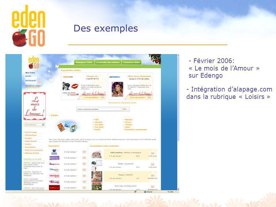 Des exemples - Février 2006: « Le mois de l'Amour » sur Edengo