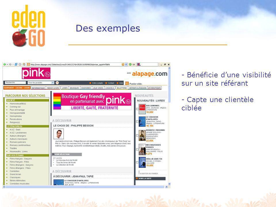 Des exemples Bénéficie d'une visibilité sur un site référant
