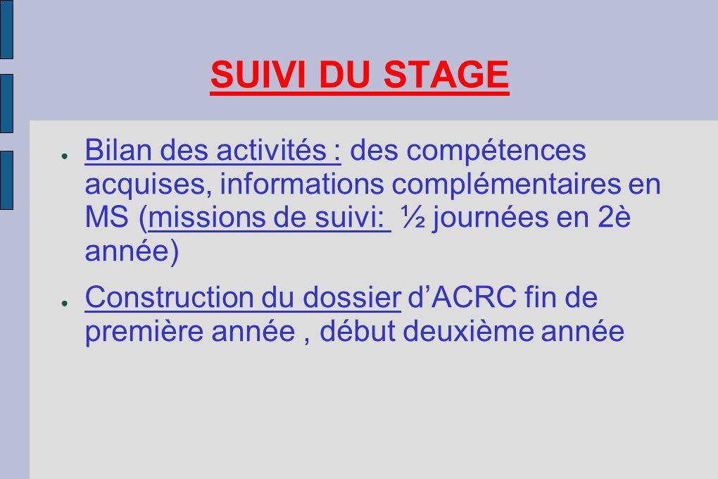 SUIVI DU STAGE Bilan des activités : des compétences acquises, informations complémentaires en MS (missions de suivi: ½ journées en 2è année)