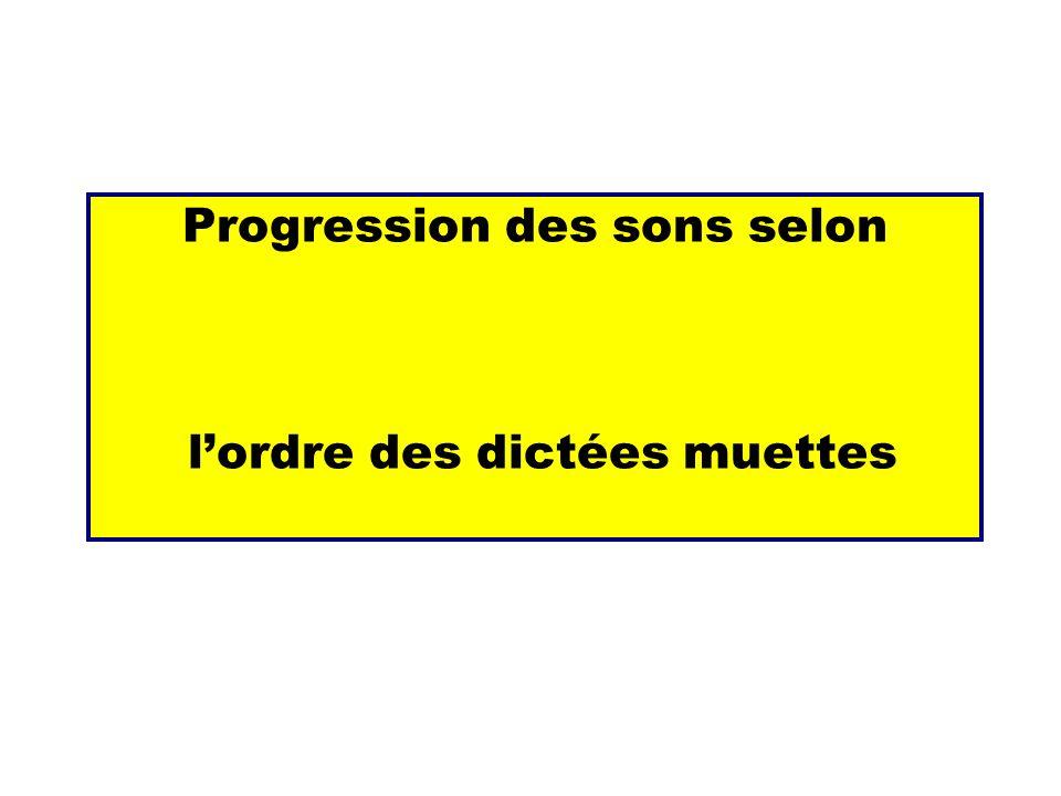 Progression des sons selon l'ordre des dictées muettes