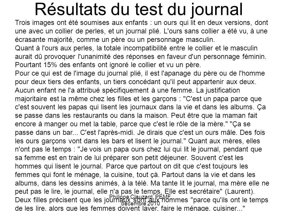 Résultats du test du journal