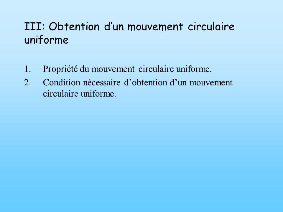 III: Obtention d'un mouvement circulaire uniforme
