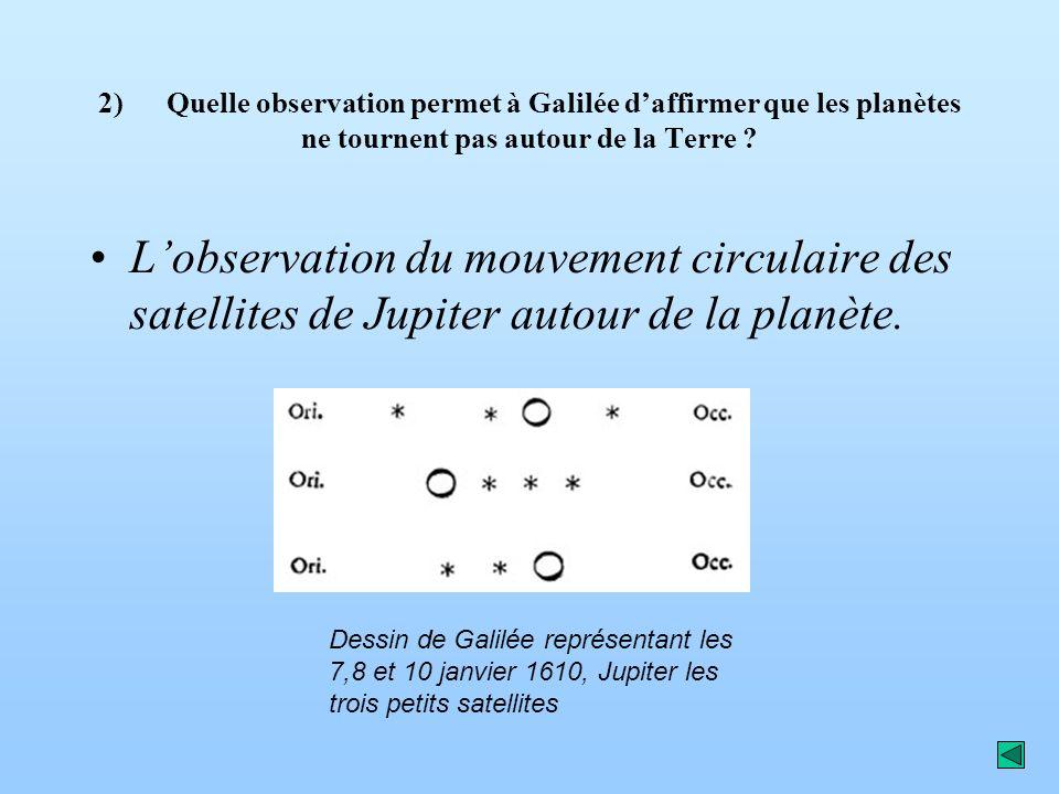 2) Quelle observation permet à Galilée d'affirmer que les planètes ne tournent pas autour de la Terre