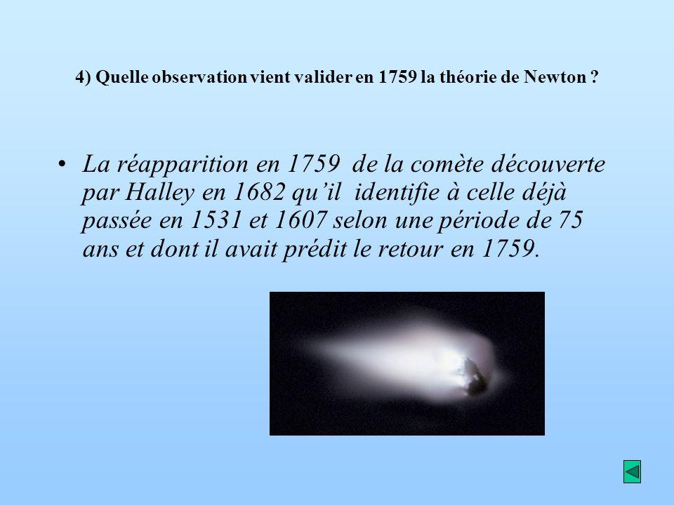 4) Quelle observation vient valider en 1759 la théorie de Newton