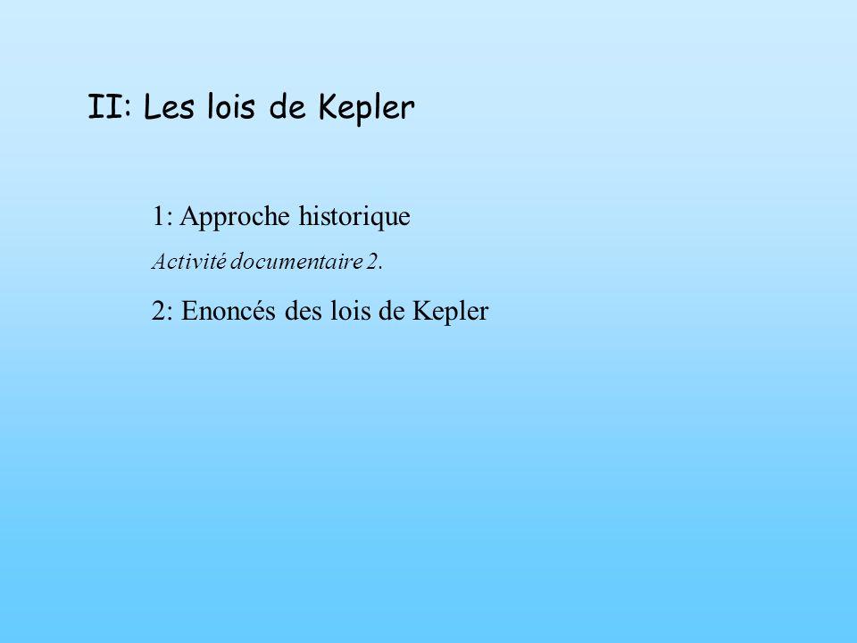 II: Les lois de Kepler 1: Approche historique