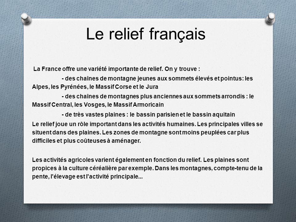 Le relief français La France offre une variété importante de relief. On y trouve :