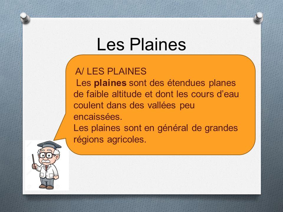Les Plaines A/ LES PLAINES. Les plaines sont des étendues planes de faible altitude et dont les cours d'eau coulent dans des vallées peu encaissées.