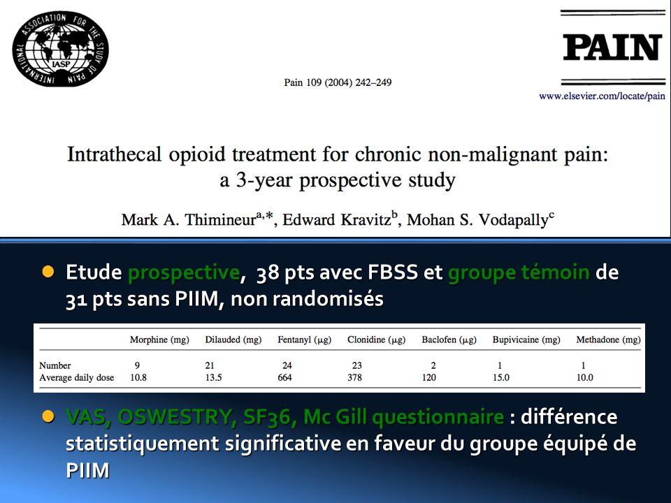 Roberts et Al Etude prospective, 38 pts avec FBSS et groupe témoin de 31 pts sans PIIM, non randomisés.