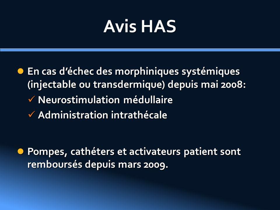 Avis HAS En cas d'échec des morphiniques systémiques (injectable ou transdermique) depuis mai 2008: