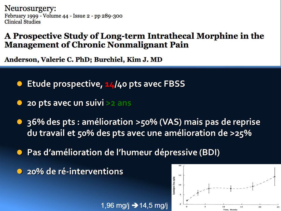 Etude prospective, 14/40 pts avec FBSS 20 pts avec un suivi >2 ans