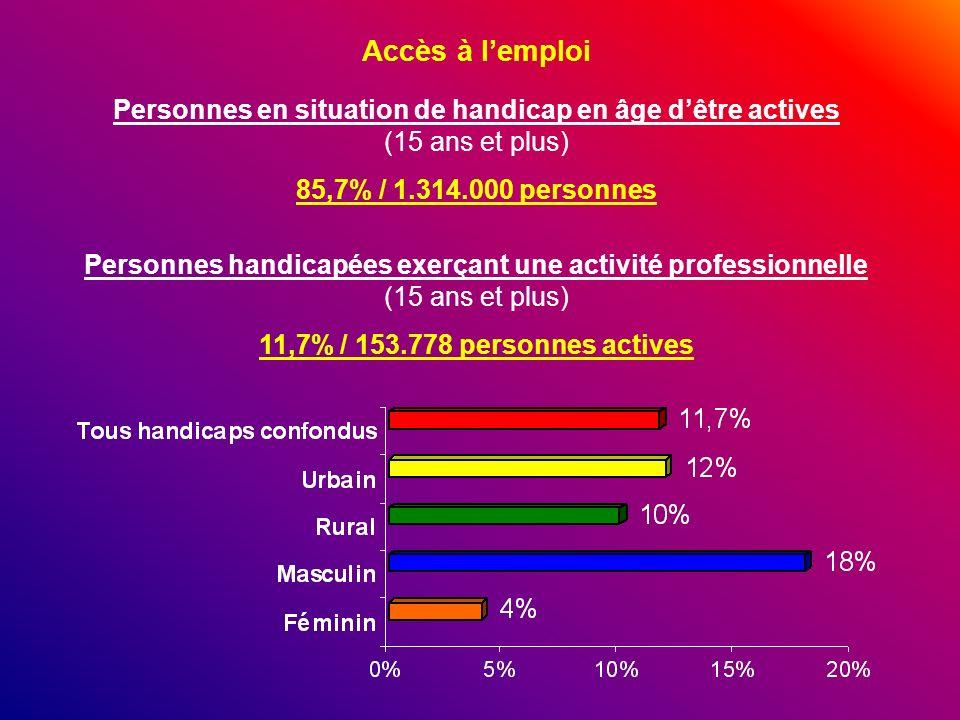 Accès à l'emploi Personnes en situation de handicap en âge d'être actives (15 ans et plus) 85,7% / 1.314.000 personnes.