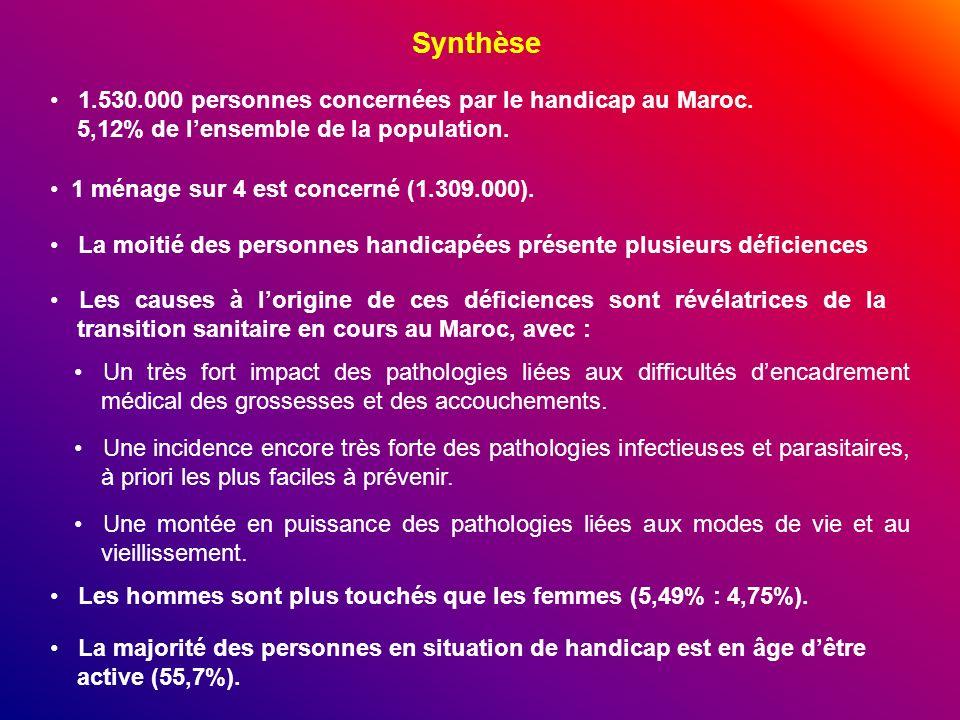 Synthèse 1.530.000 personnes concernées par le handicap au Maroc. 5,12% de l'ensemble de la population.
