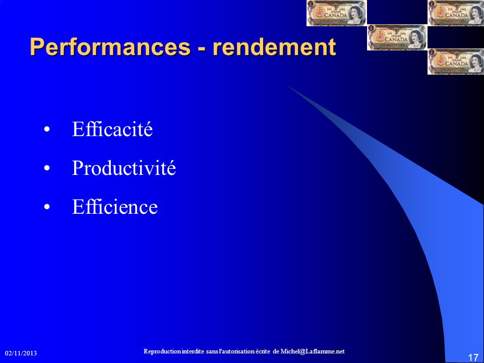 Performances - rendement