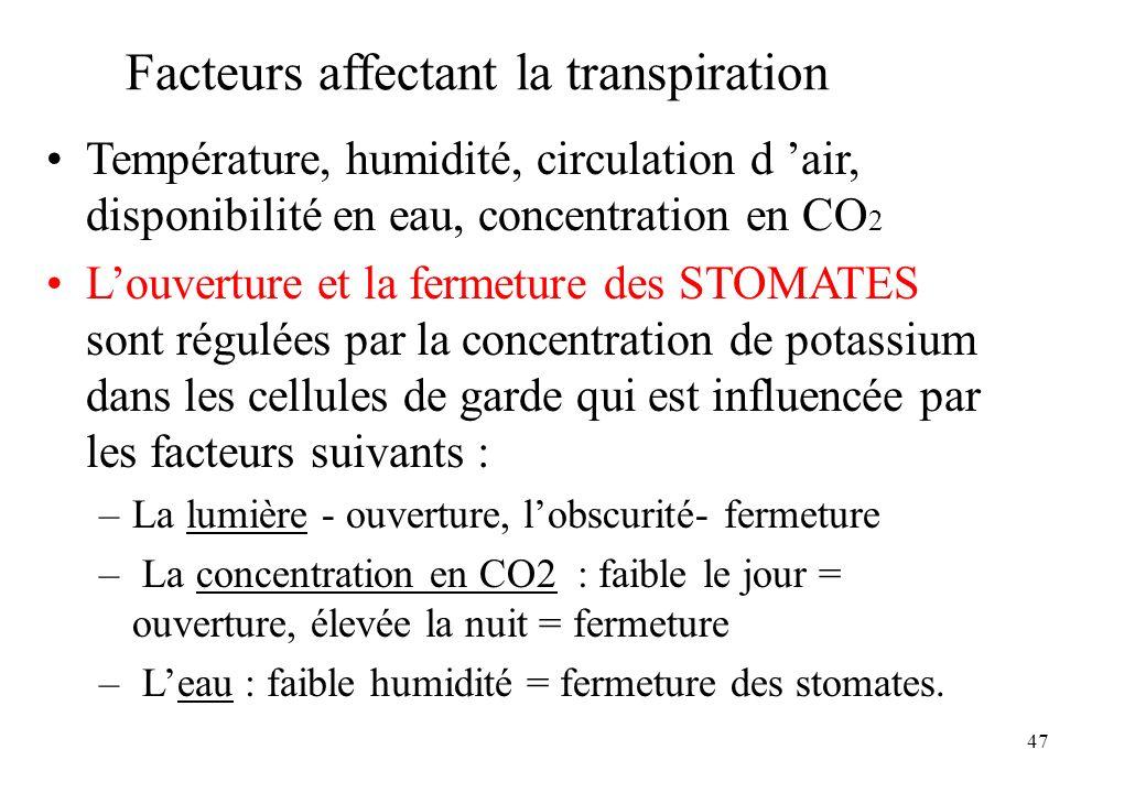 Facteurs affectant la transpiration