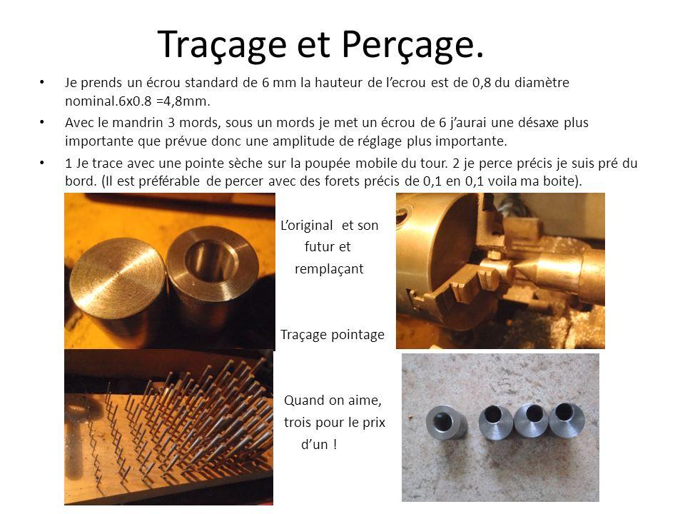 Traçage et Perçage.Je prends un écrou standard de 6 mm la hauteur de l'ecrou est de 0,8 du diamètre nominal.6x0.8 =4,8mm.