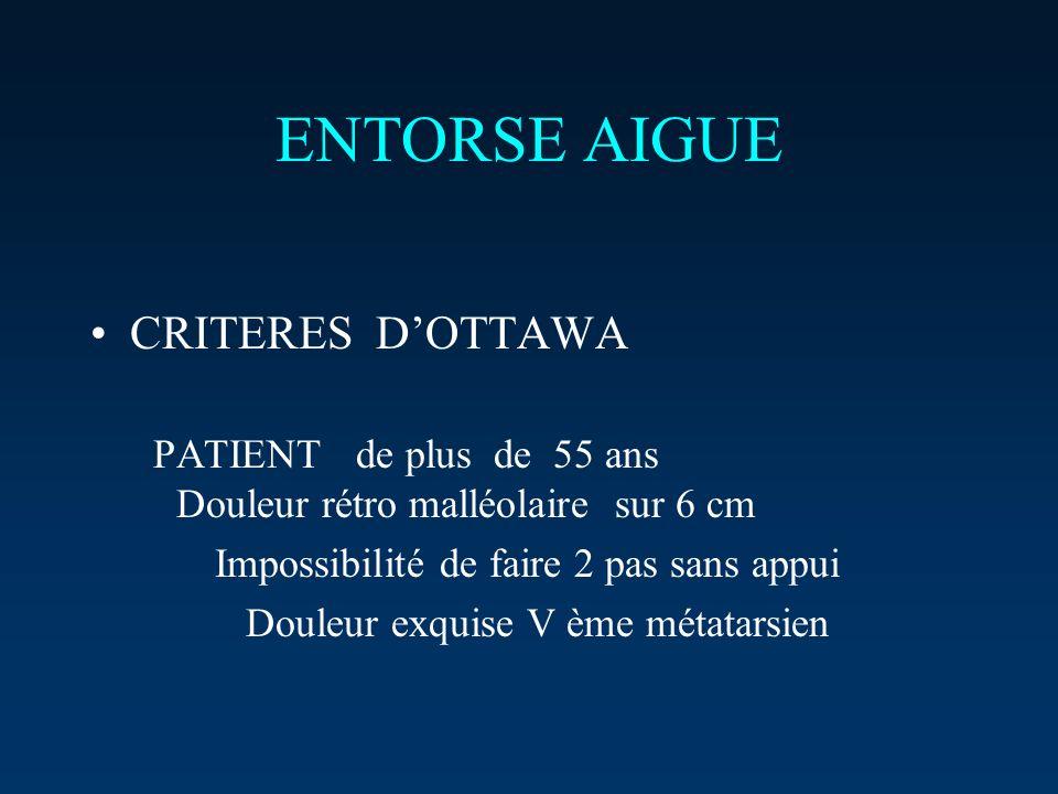 ENTORSE AIGUE CRITERES D'OTTAWA