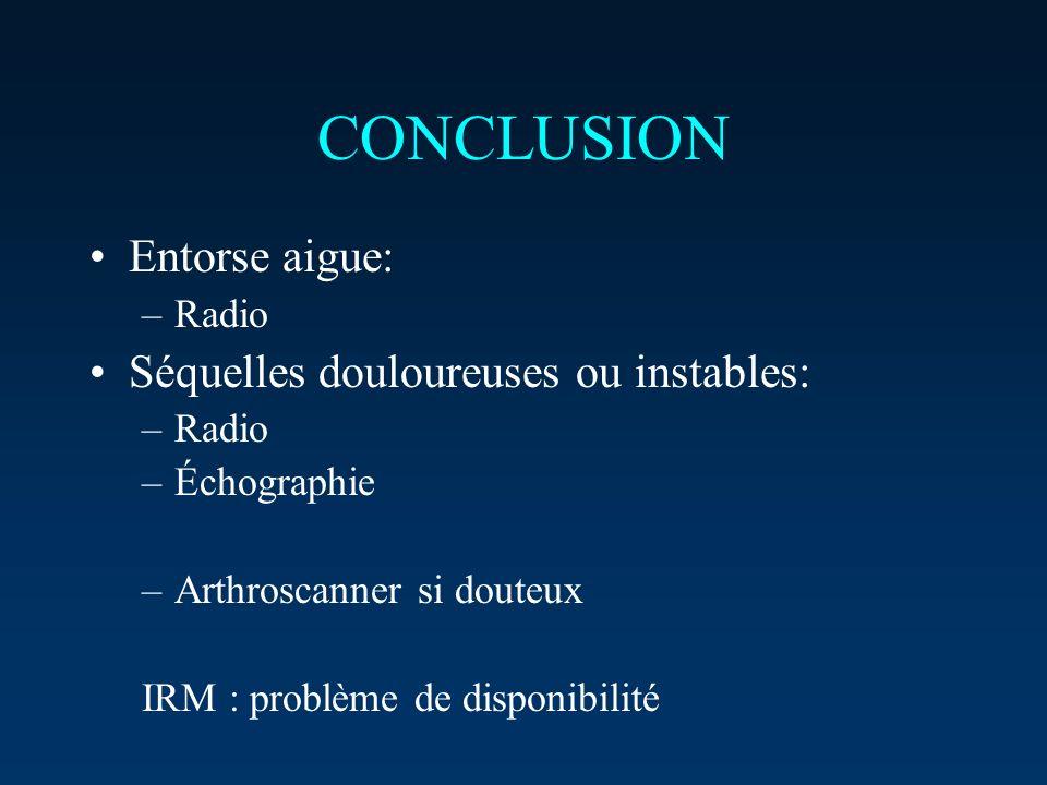 CONCLUSION Entorse aigue: Séquelles douloureuses ou instables: Radio
