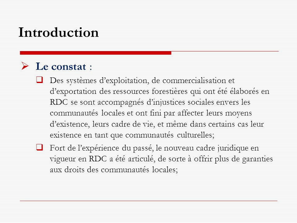 Introduction Le constat :