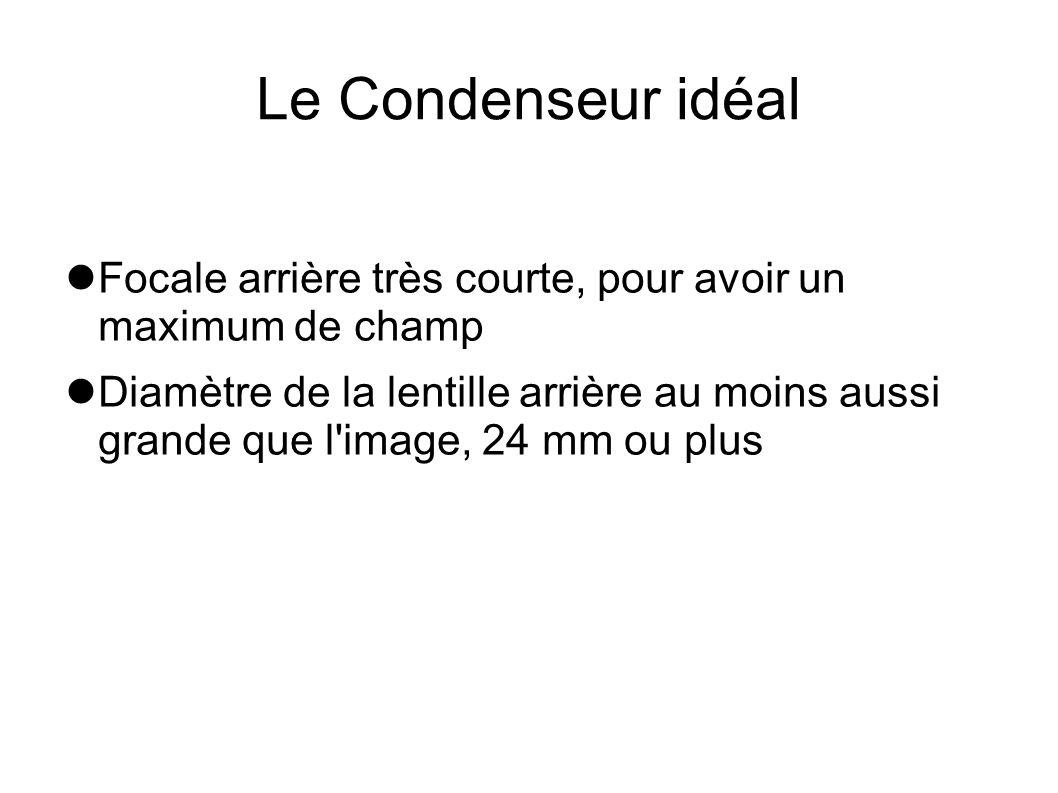 Le Condenseur idéal Focale arrière très courte, pour avoir un maximum de champ.