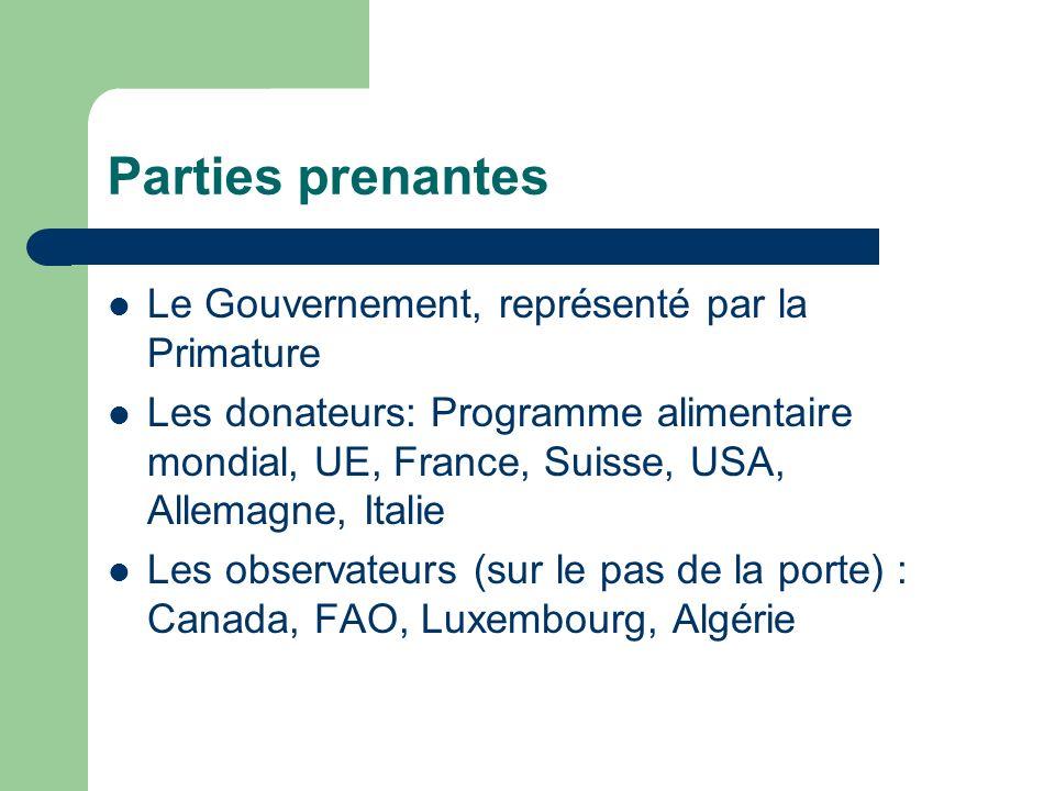 Parties prenantes Le Gouvernement, représenté par la Primature