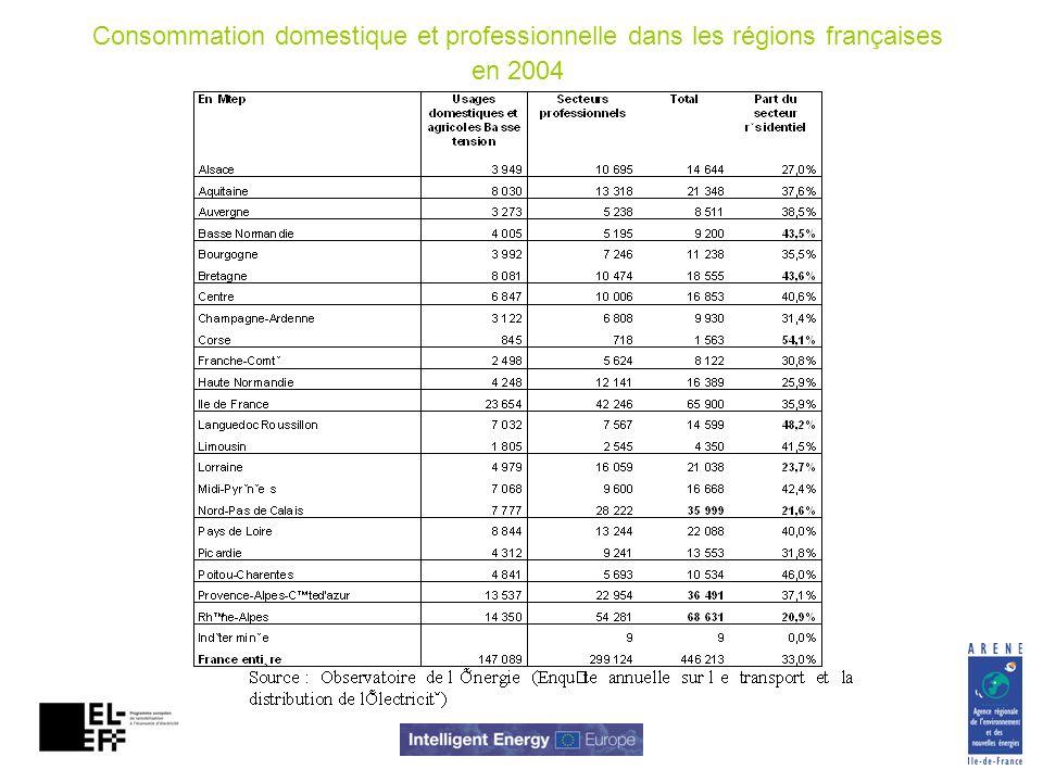 Consommation domestique et professionnelle dans les régions françaises en 2004