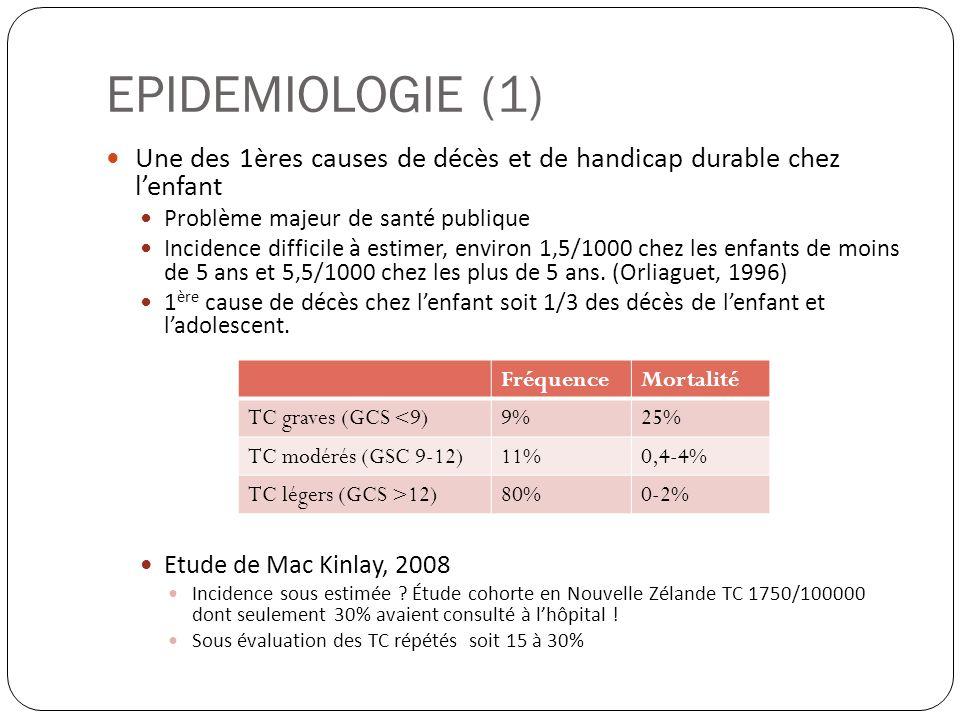 EPIDEMIOLOGIE (1) Une des 1ères causes de décès et de handicap durable chez l'enfant. Problème majeur de santé publique.