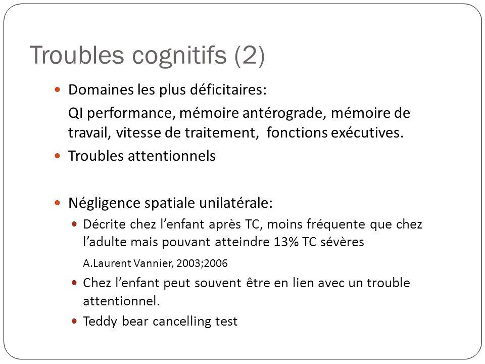 Troubles cognitifs (2) Domaines les plus déficitaires: