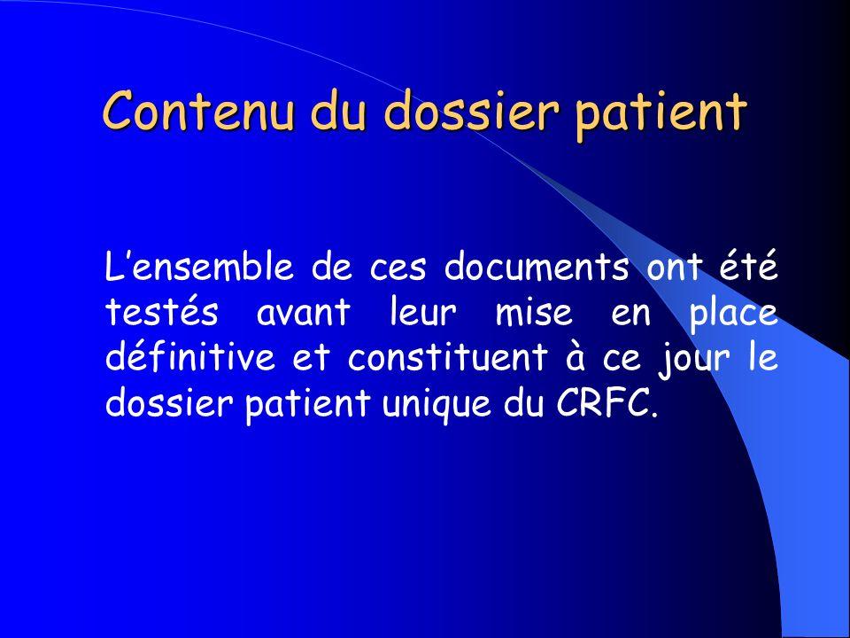 Contenu du dossier patient
