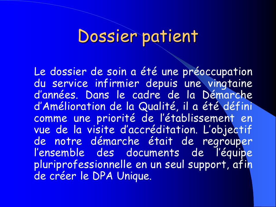 Dossier patient