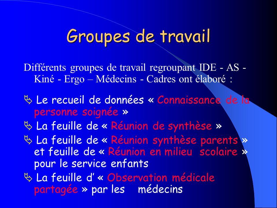 Groupes de travail Différents groupes de travail regroupant IDE - AS -Kiné - Ergo – Médecins - Cadres ont élaboré :