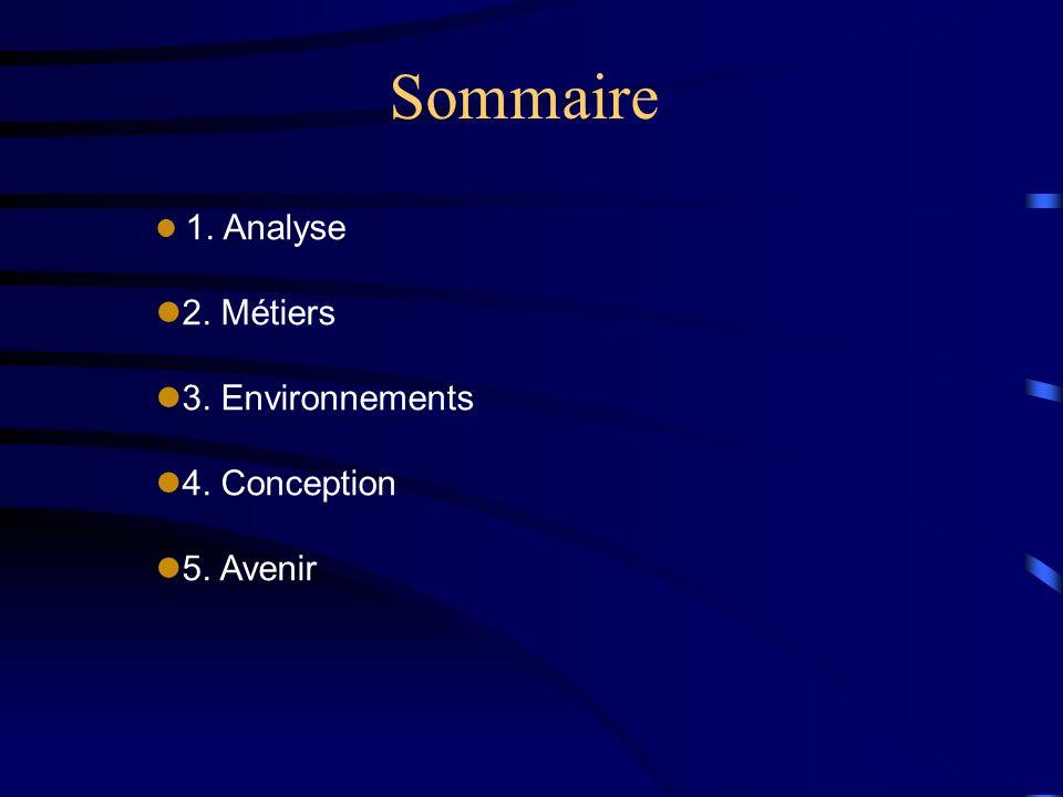 Sommaire 2. Métiers 3. Environnements 4. Conception 5. Avenir