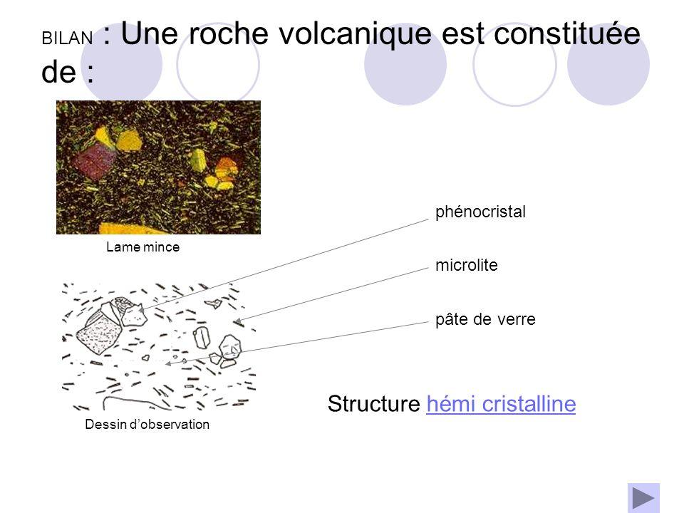 BILAN : Une roche volcanique est constituée de :