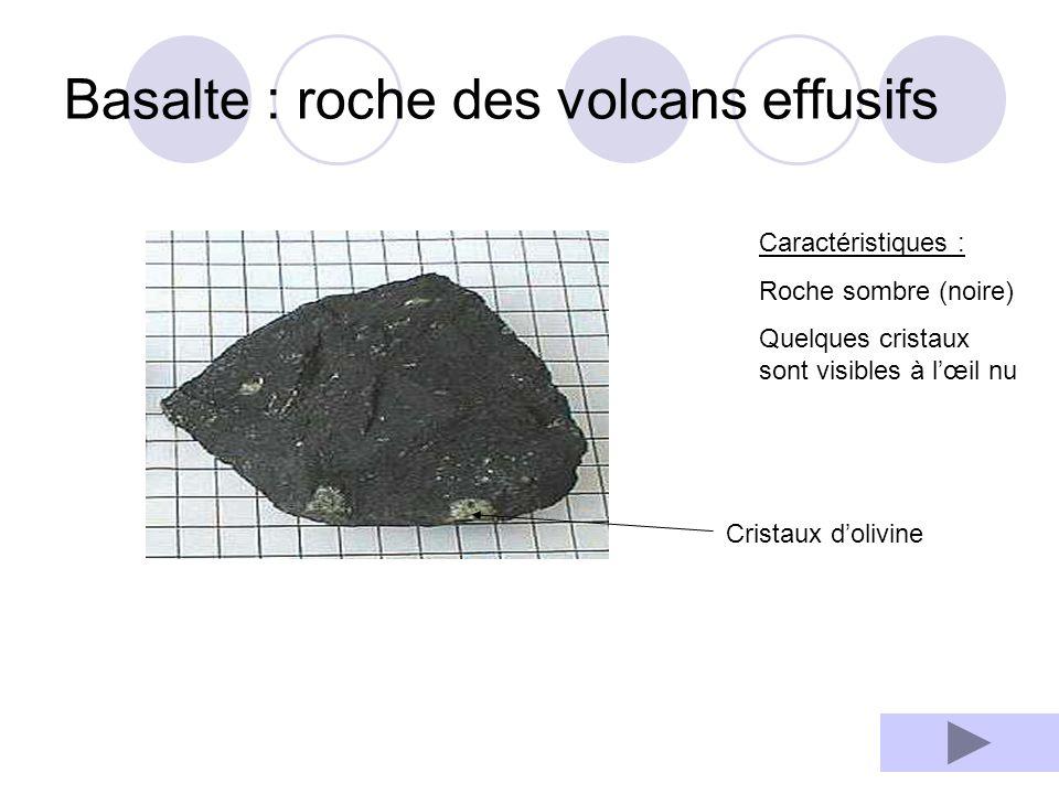 Basalte : roche des volcans effusifs
