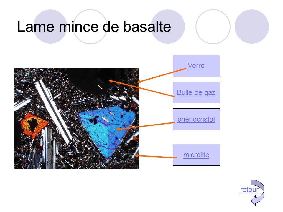 Lame mince de basalte Verre Bulle de gaz phénocristal microlite retour