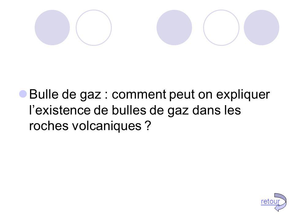 Bulle de gaz : comment peut on expliquer l'existence de bulles de gaz dans les roches volcaniques