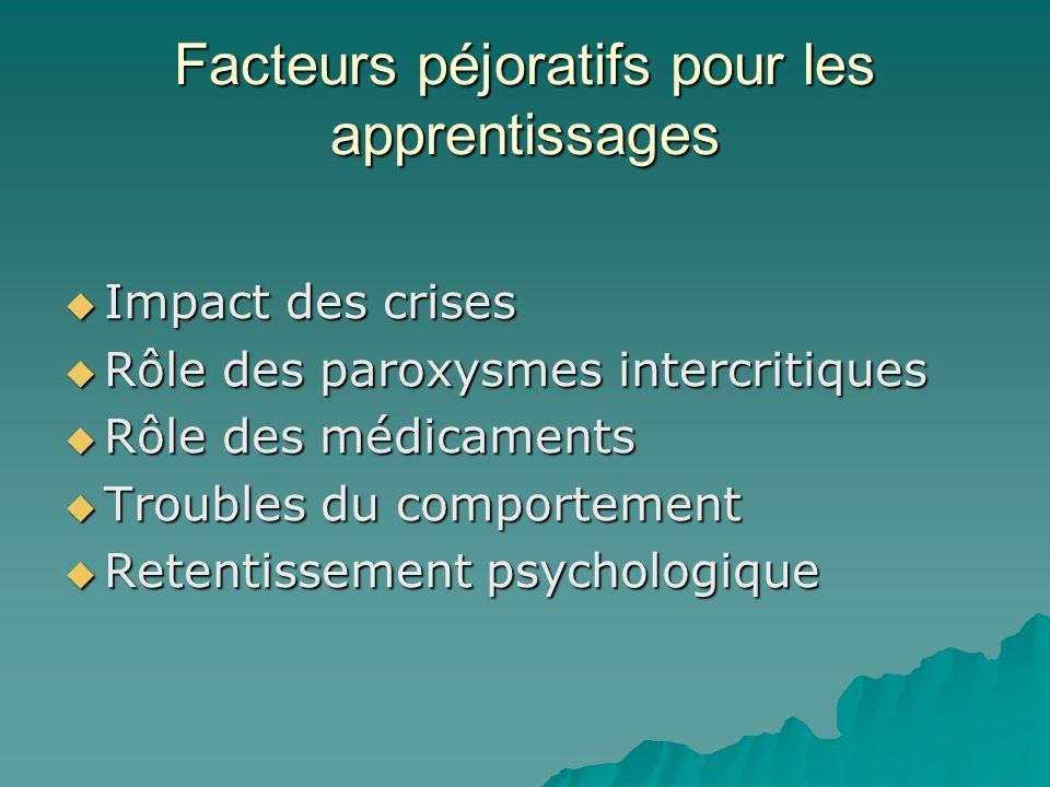 Facteurs péjoratifs pour les apprentissages