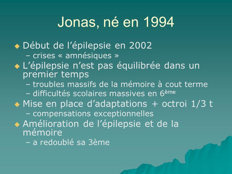 Jonas, né en 1994 Début de l'épilepsie en 2002