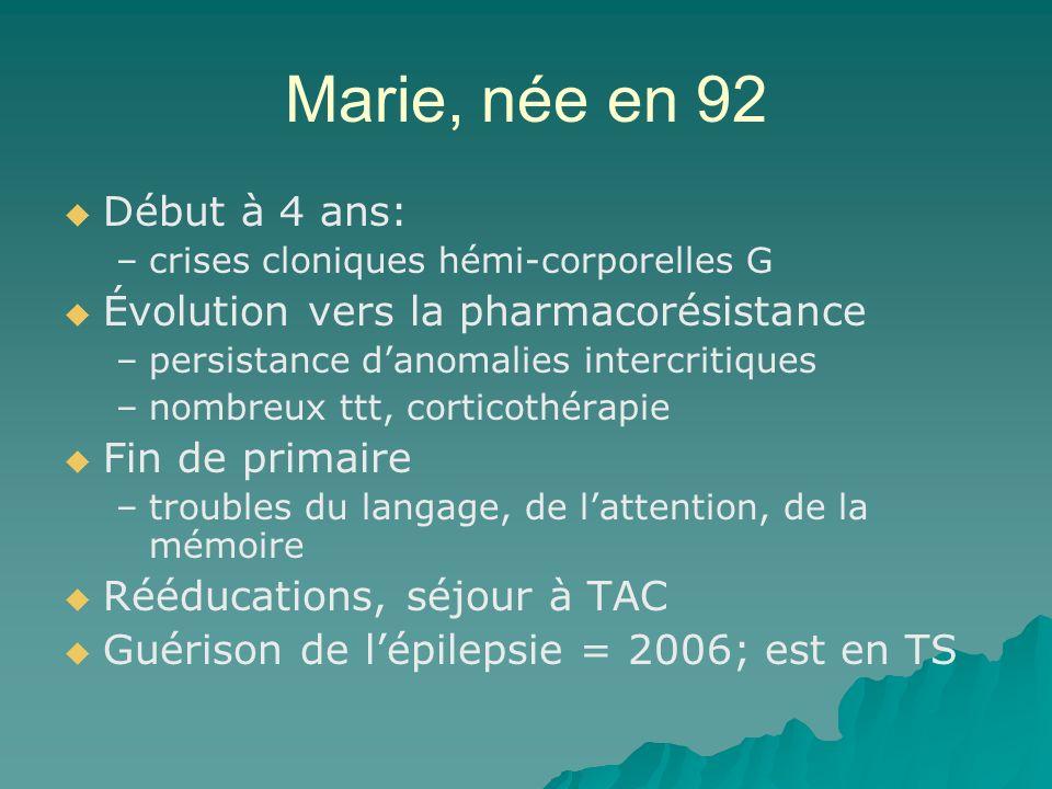 Marie, née en 92 Début à 4 ans: Évolution vers la pharmacorésistance