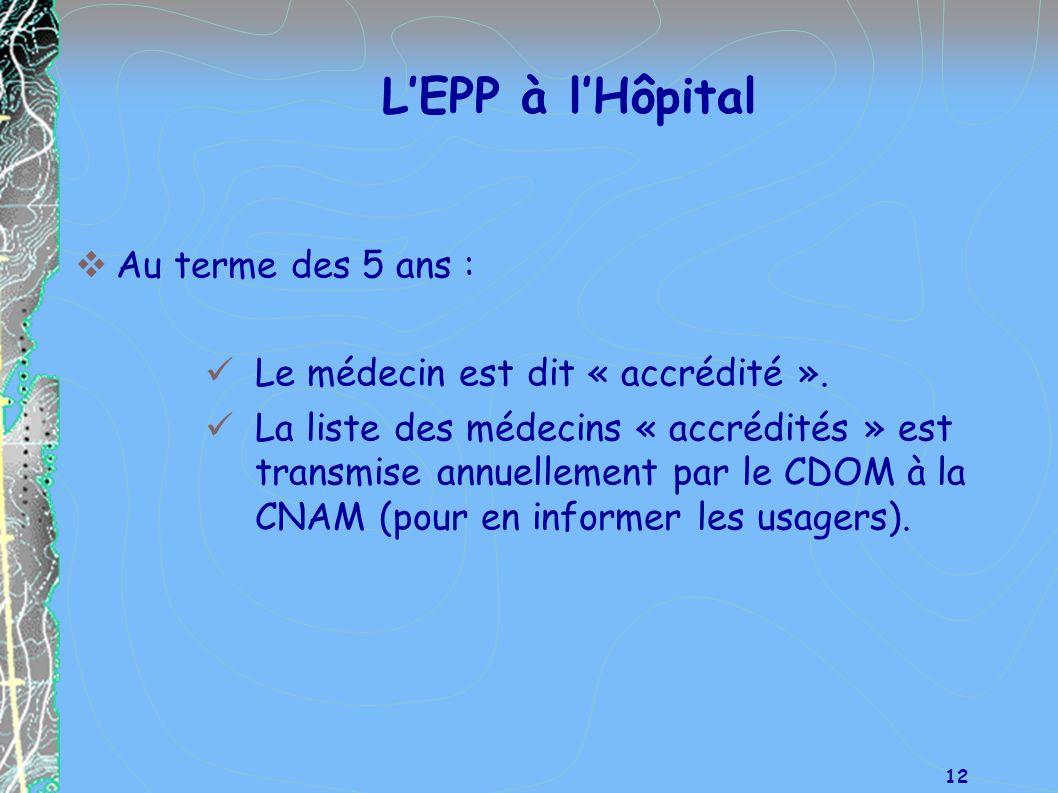 L'EPP à l'Hôpital Au terme des 5 ans :