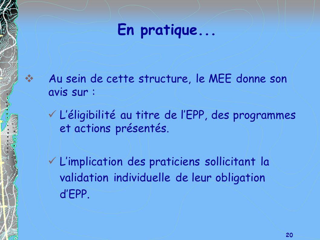 En pratique... Au sein de cette structure, le MEE donne son avis sur :