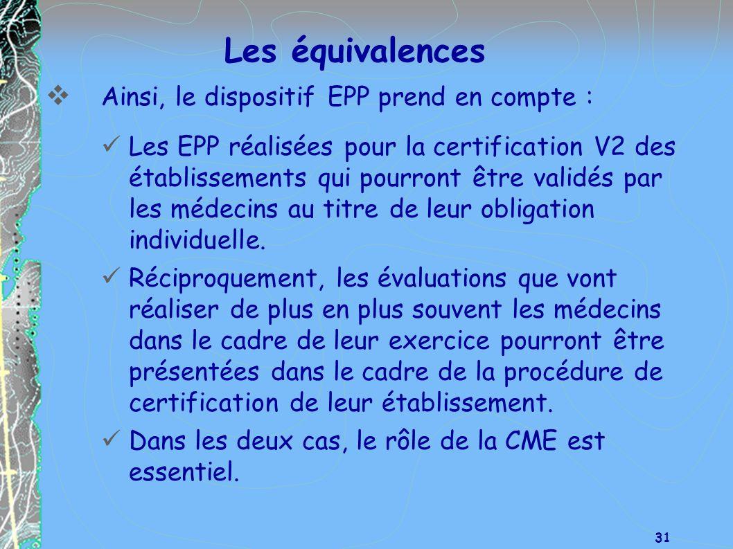 Les équivalences Ainsi, le dispositif EPP prend en compte :
