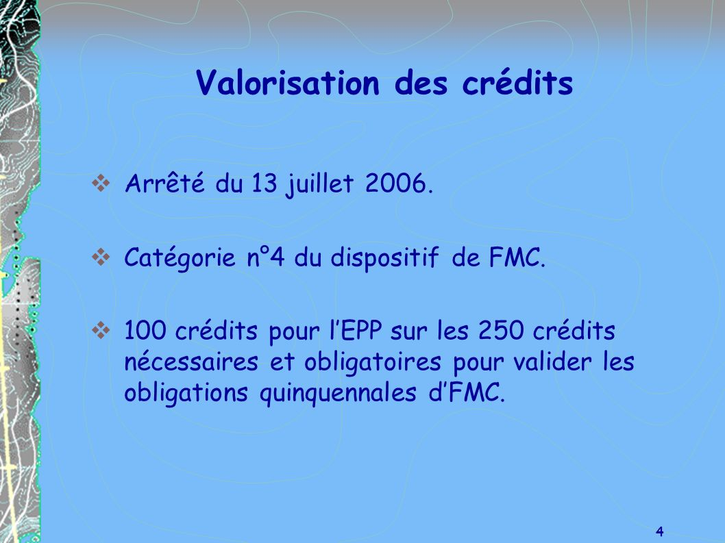 Valorisation des crédits
