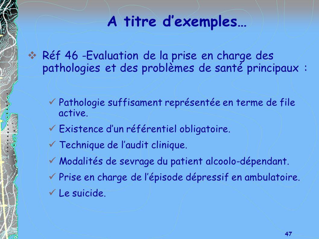 A titre d'exemples… Réf 46 -Evaluation de la prise en charge des pathologies et des problèmes de santé principaux :