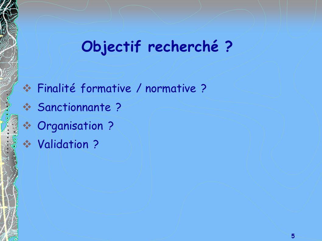 Objectif recherché Finalité formative / normative Sanctionnante