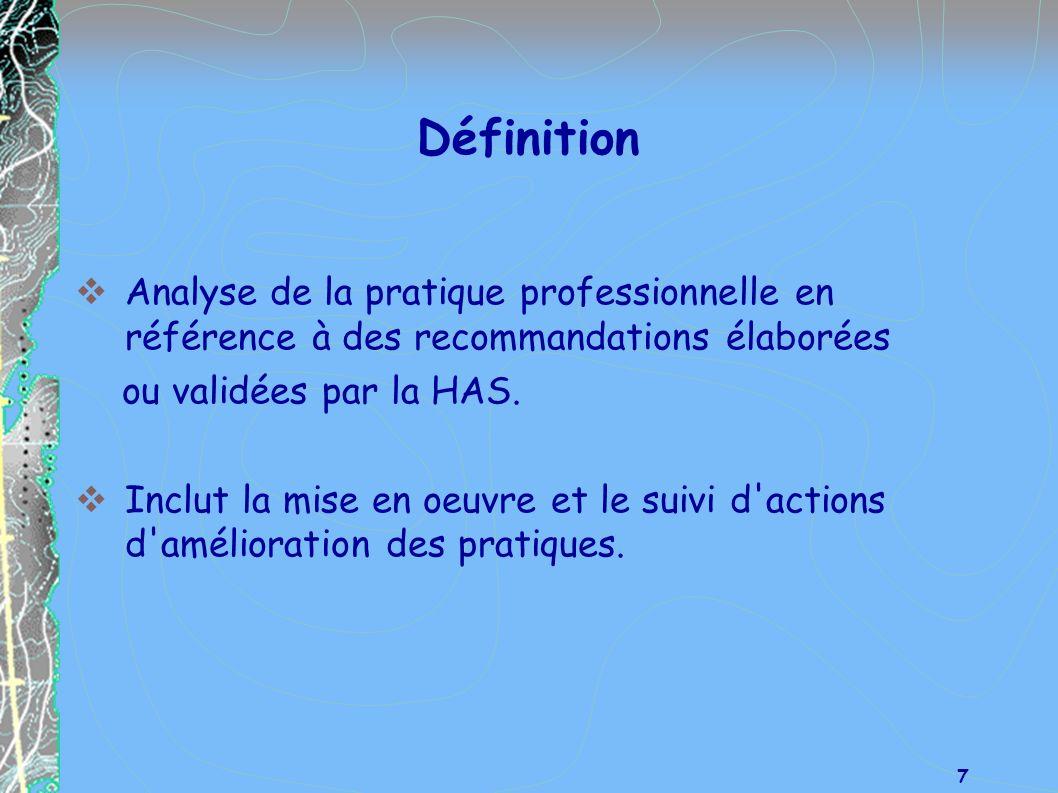 DéfinitionAnalyse de la pratique professionnelle en référence à des recommandations élaborées. ou validées par la HAS.