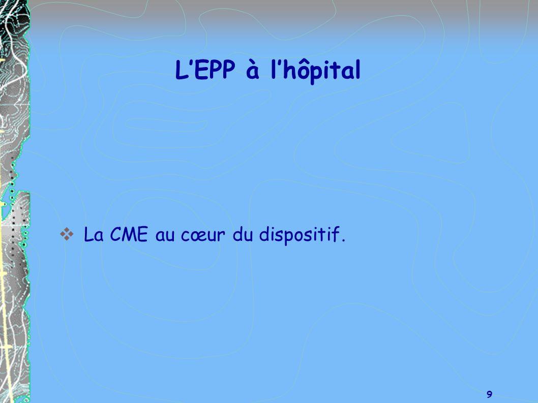 L'EPP à l'hôpital La CME au cœur du dispositif.