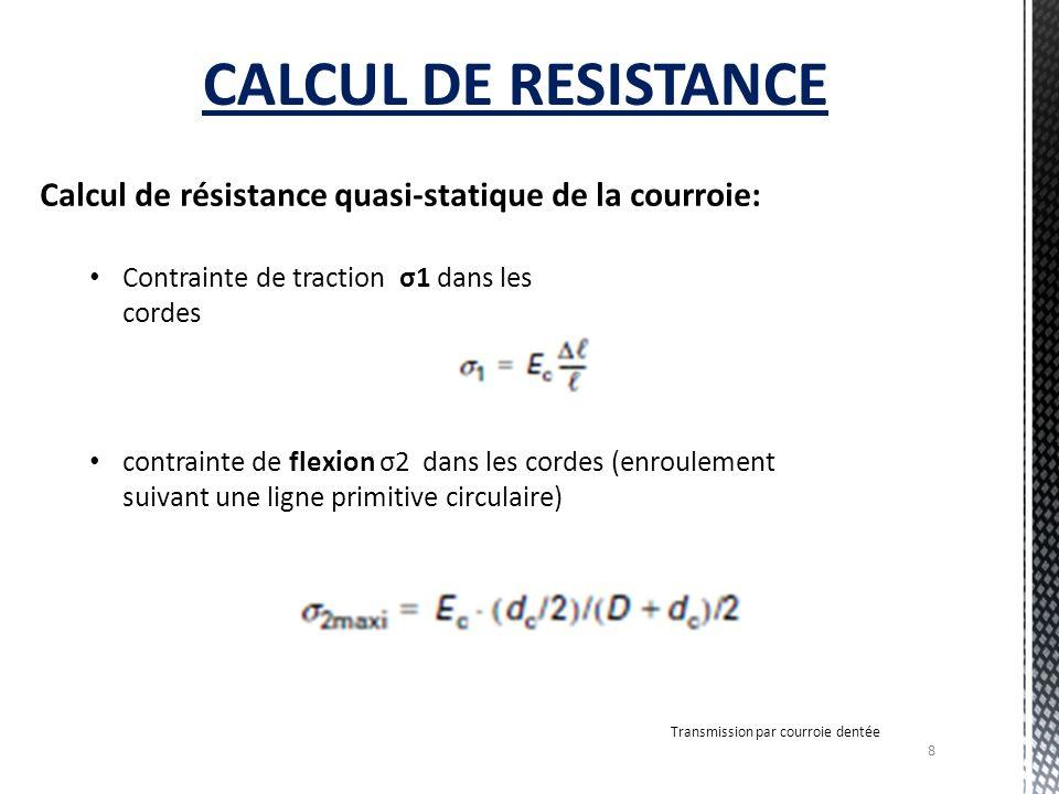 CALCUL DE RESISTANCE Calcul de résistance quasi-statique de la courroie: Contrainte de traction σ1 dans les cordes.