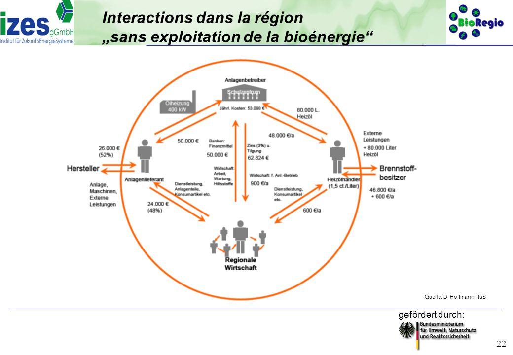 """Interactions dans la région """"sans exploitation de la bioénergie"""