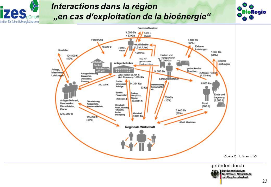 """Interactions dans la région """"en cas d'exploitation de la bioénergie"""