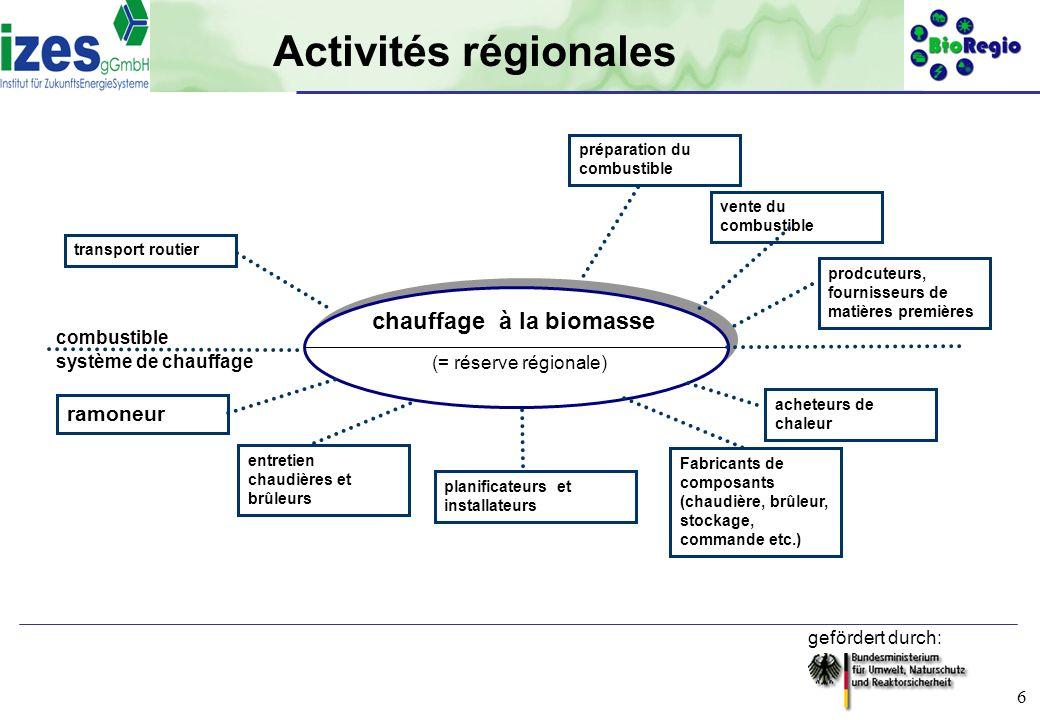 Activités régionales chauffage à la biomasse ramoneur combustible